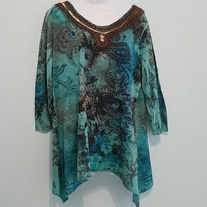 roz & ALI Size1x Embellished 3/4 Sleeve Top Blouse